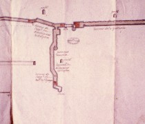 """Archives nationales, O1 1782 dossier 2 pièce n°1, plan daté et annoté au dos : """"1684. A faire pendant le voyage du roy. Aqueduc que l'on a bouché sous le chasteau"""""""