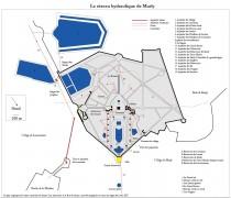 """Schéma du réseau hydraulique, publié dans : """"Les eaux de Marly"""", Les maîtres de l'eau d'Archimède à la machine de Marly, Musée-Promenade, Marly-le-Roi / Louveciennes, 2006, p. 80-91."""