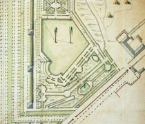 AN O/1/1468 n° 100, détail : plan des jardins de Marly, 1695.