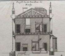 Gravure, coupe du pavillon des bains du château de Marly, vers 1700.