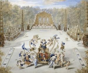 Vue du bosquet de l'Arc de Triomphe dans les jardins de Versailles. Jean Cotelle le Jeune, 1693. Gouache sur vélin. Château de Versailles. © RMN-Grand Palais (Château de Versailles) / Philipp Bernard