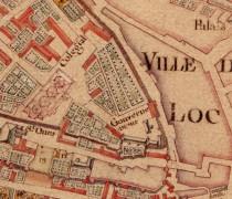 Figure 2 : Plan de Lhuilier de la Serre (1751-1756) - Bibliothèque municipale de Loches. Gravures de la collection Gaignière de 1699 (Bnf), de Belleforest (in Cosmogonie universelle de tout le monde, 1575, Bnf), plan de Lhulier de la Serre de 1751-1756 (conservé à la Bibliothèque Municipale de Loches) ou plan de Vallée de 1806 (ADIL IV.31.2.1).